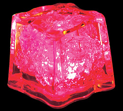 Red push-button-activated light-up ice cube