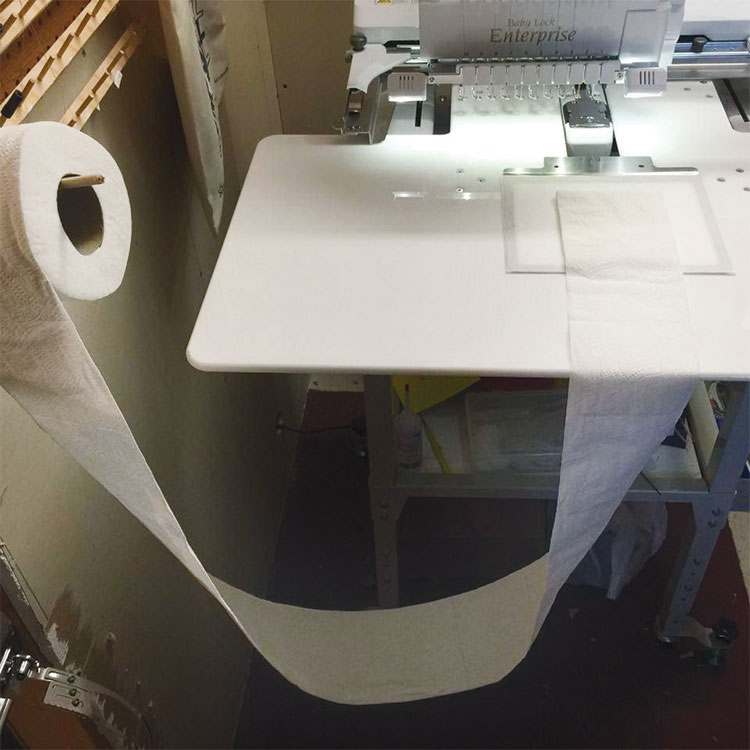 How to embroider on toilet paper any hoop can be used make sure that the toilet paper is positioned so the hoop can move freely without tearing the paper embroider ccuart Choice Image