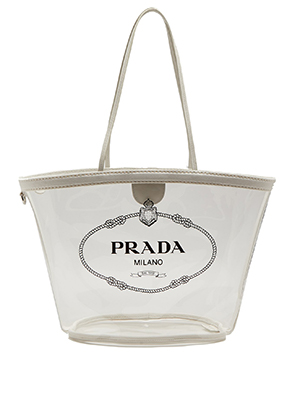 Made In Italy From Pvc The Transpa Tote Features Prada S Black Logo Print Across Front And A White Canvas Trim Little Nod To Privacy