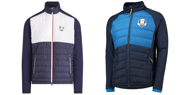 1903df56 [At left] USA men's RLX navy/white 2018 Ryder Cup official hybrid merino  wool quilted full-zip jacket; [At right] 2018 Ryder Cup European fanwear  padded ...