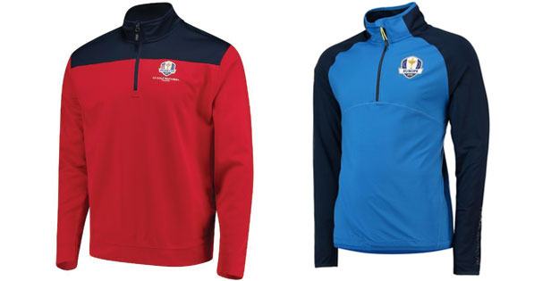 7a197497 [At left] Team USA's Cutter & Buck (asi/47965) red/navy 2018 Ryder Cup  Skyridge half-zip pullover for men; [At right] 2018 Ryder Cup European  fanwear tech ...