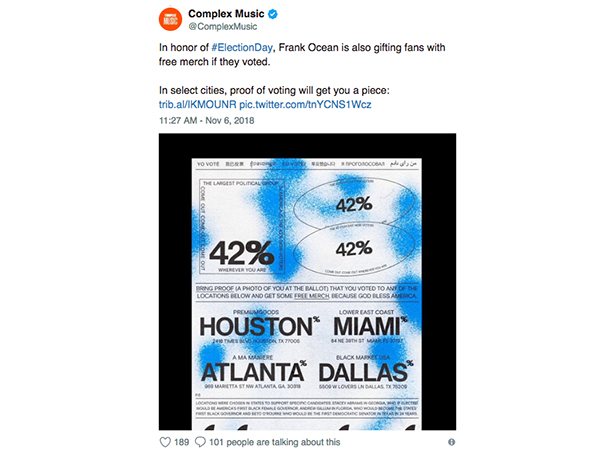 Frank Ocean Offers Free Merch To Midterm Voters