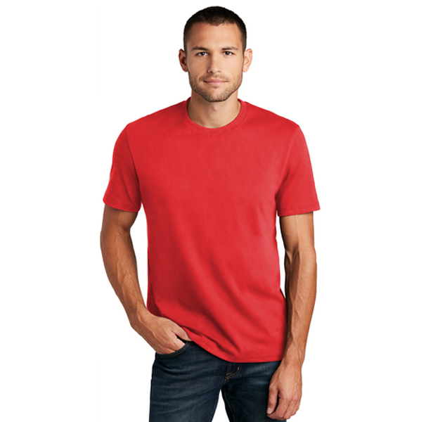 Man wearing Ruby red Sanmar t-shirt