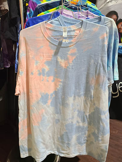 Pastel tie-dye in a non-spiral pattern is trending, according to Dyenomite Apparel.